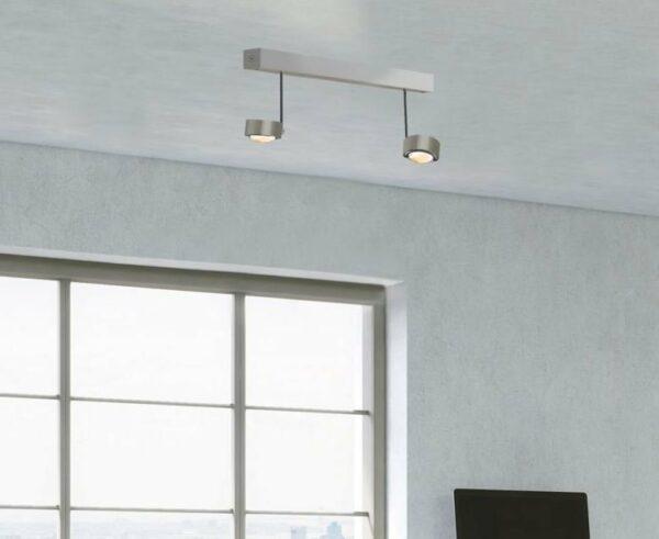 Top Light Deckenleuchte Puk Choice Side 2-flammig Halogen Nickel matt
