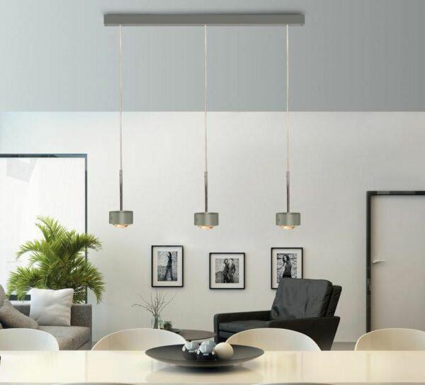 Top Light Pendelleuchte Puk Choice Long One 3-flammig LED Nickel matt