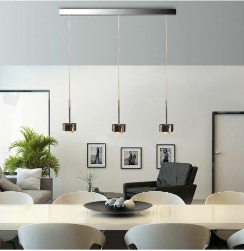 Top Light Pendelleuchte Puk Choice Long One 3-flammig LED Chrom