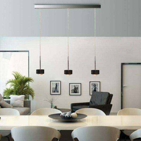 Top Light Pendelleuchte Puk Choice Long One 3-flammig LED Schwarz