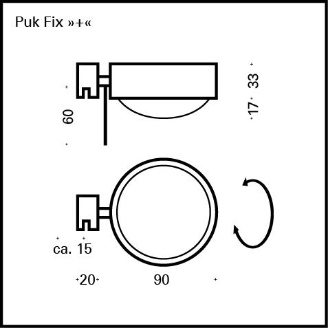 Top Light Spiegel-Schraubklemmleuchte Puk Fix + Halogen Maße