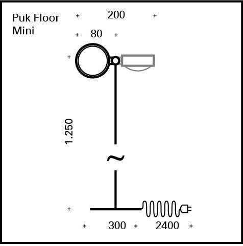 Top Light Stehleuchte Puk Floor Single Mini LED Maße