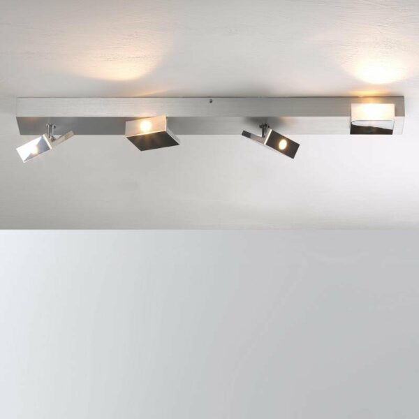 Bopp Deckenleuchte Elle LED 4-flammig Aluminium geschliffen/Hochglanzchrom