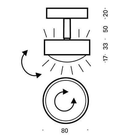 Top Light Deckenleuchte Puk Turn LED Maße
