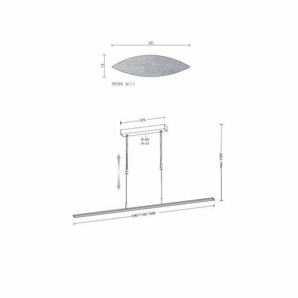 Holtkötter Pendelleuchte Epsilon 115 cm Dim to Warm - Innenleuchten