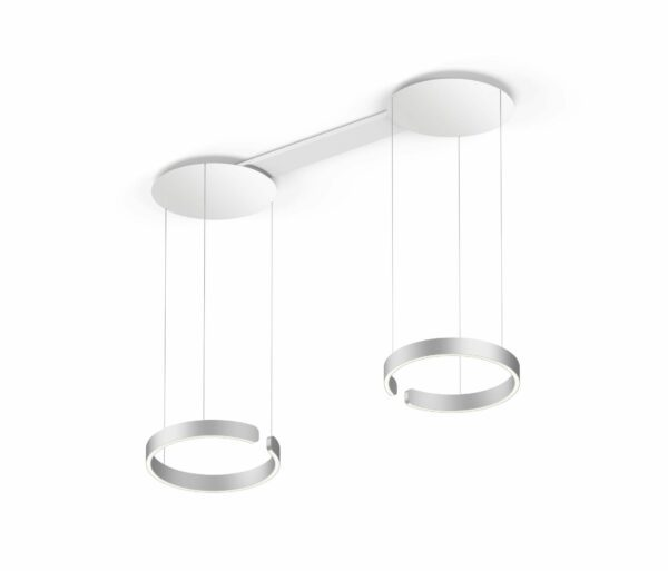 Occhio Pendelleuchte Mito sospeso due 40 variabel wide Silber matt