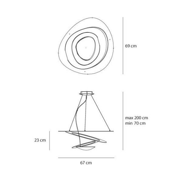 Artemide Pendelleuchte Pirce Mini LED Sospensione Maße