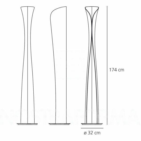 Artemide Stehleuchte Cadmo Maße
