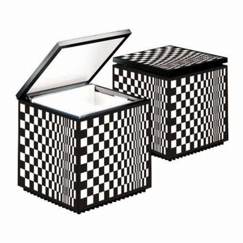 Cini & Nils Tischleuchte Cuboled Schachbrettmuster Schwarz-Weiß, Kabel Schwarz - Tischleuchten Innen