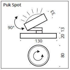 Top Light Tischleuchte Puk Spot LED Maße