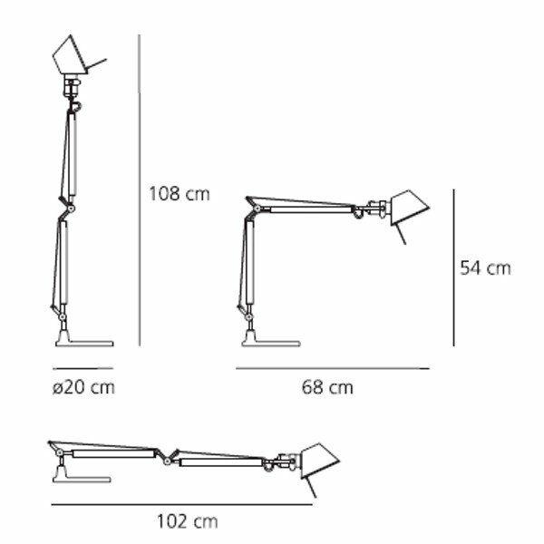 Artemide Tischleuchte Tolomeo Mini Tavolo inkl. Tischfuß Maße