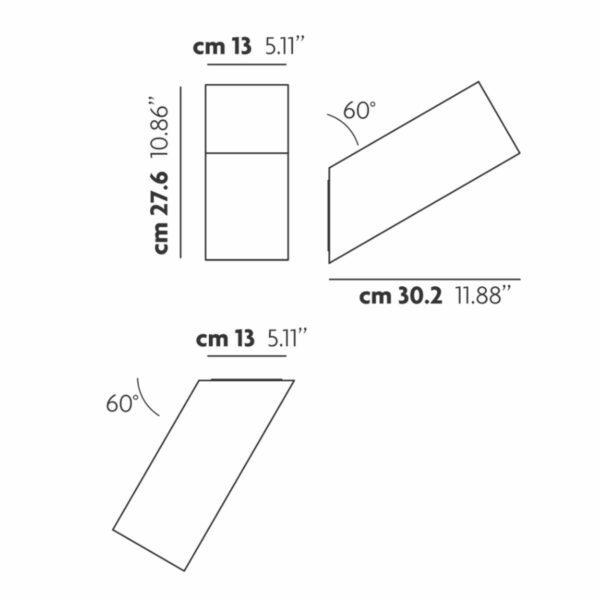 Studio Italia Design Wand- und Deckenleuchte Beetle Cube 60° Maße