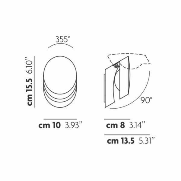 Studio Italia Design Wandleuchte Pin-Up Maße
