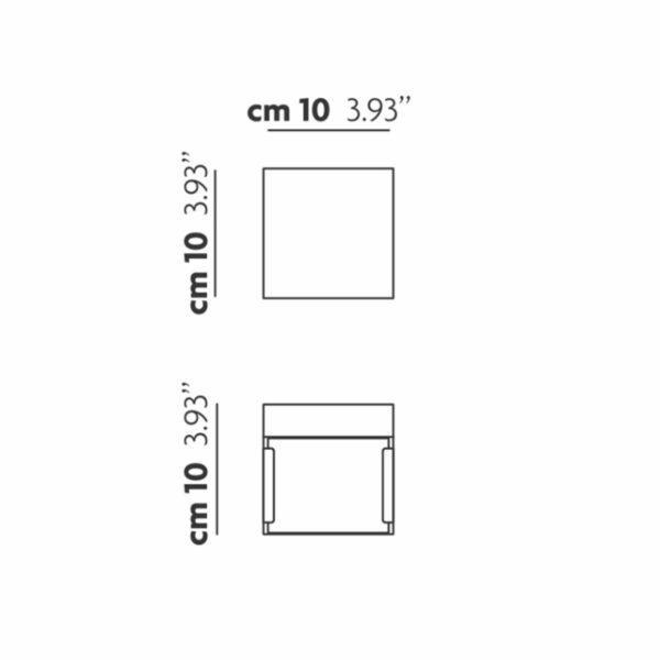 Studio Italia Design Wandleuchte Laser Cube 10x10 cm, Bronze - Wandleuchten Innen