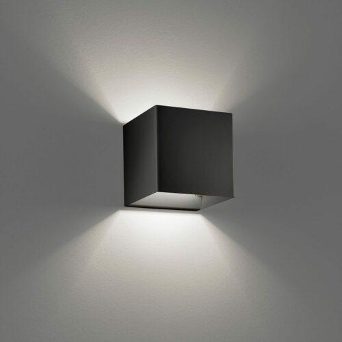 Lodes / Studio Italia Design Wandleuchte Laser Cube 10x10 cm, Schwarz - Lampen & Leuchten
