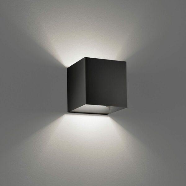 Studio Italia Design Wandleuchte Laser Cube 10x10 cm, Schwarz - Wandleuchten Innen
