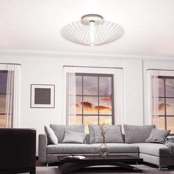 Grossmann Wand- und Deckenleuchte Faye Aluminium 100 cm Warmweiß Milieu