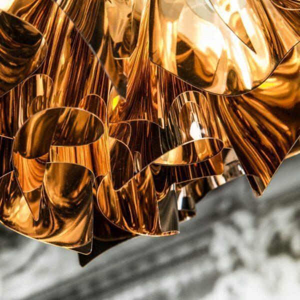 Slamp Pendelleuchte Veli Medium Kupfer Detail Leuchtenschirm