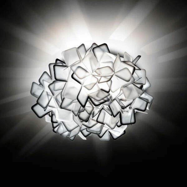 Slamp Wand- und Deckenleuchte Clizia Medium Fumé/Grau Detail Leuchtenschirm Schwarz Milieu