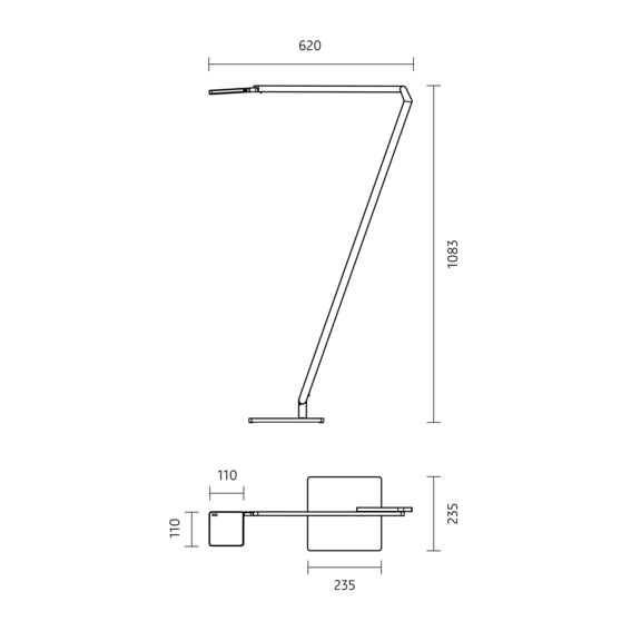 Nimbus Leseleuchte Roxxane Home mit Fußplatte