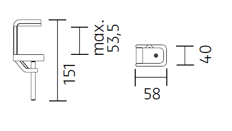 Nimbus Tischklemme für Tischleuchte Roxxane Office und Home Maße