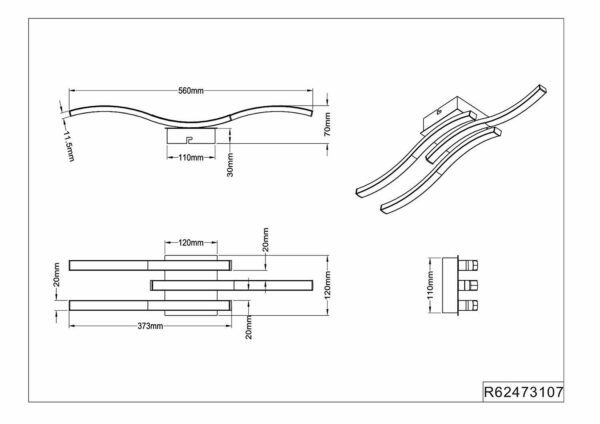 Reality Deckenleuchte Route LED Nickel matt R62473107 Maße