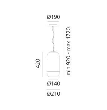Artemide Pendelleuchte Gople S Silber 1405010A Maße