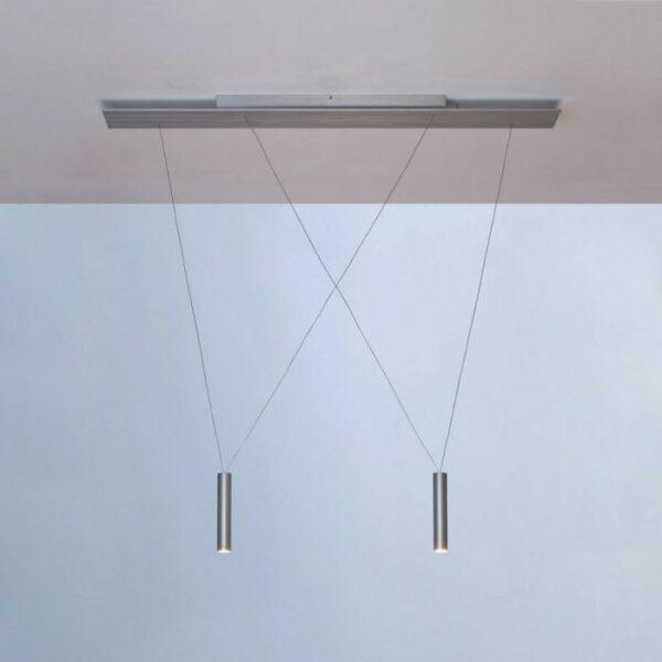 Escale Opus Deckengehäuse mit Aufnahmeschiene inkl. Pendelelemente Aluminium geschliffen