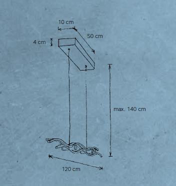 Escale Pendelleuchte Silk 120 cm Maße