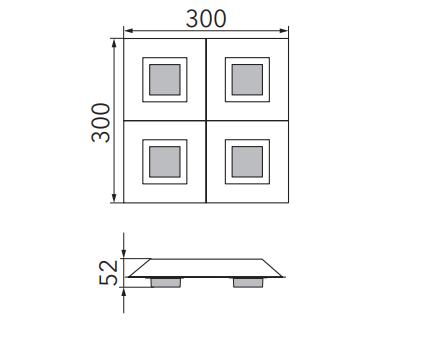 Grossmann Wand- und Deckenleuchte Basic 4-flammig Maße