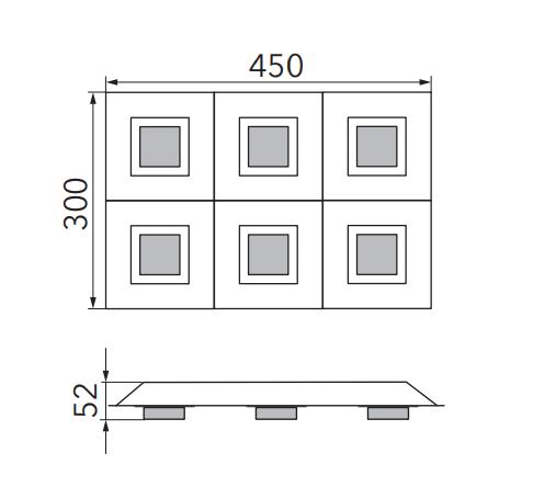 Grossmann Wand- und Deckenleuchte Basic 6-flammig Maße