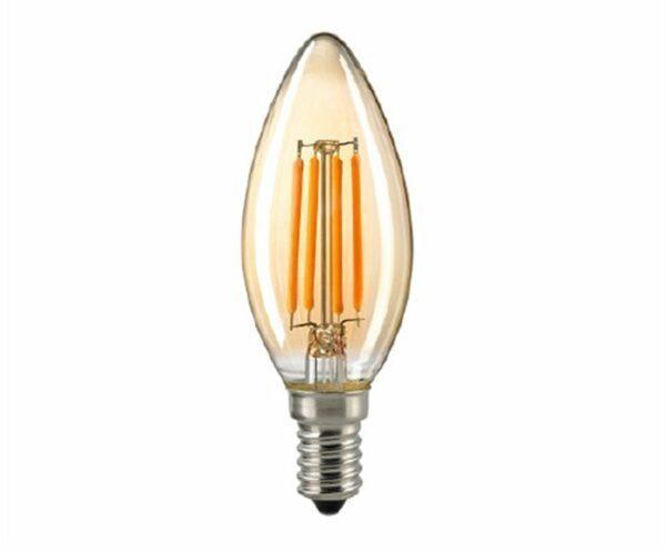 Sigor 2,5 W LED-Filament Kerze Gold E14 2400 K Dim