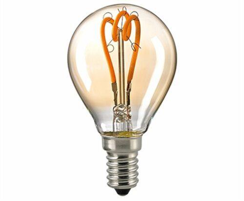 Sigor 4 W LED Curved Filament Kugel Gold E14 2000 K Dim / ersetzt 20 W - Lampen & Leuchten