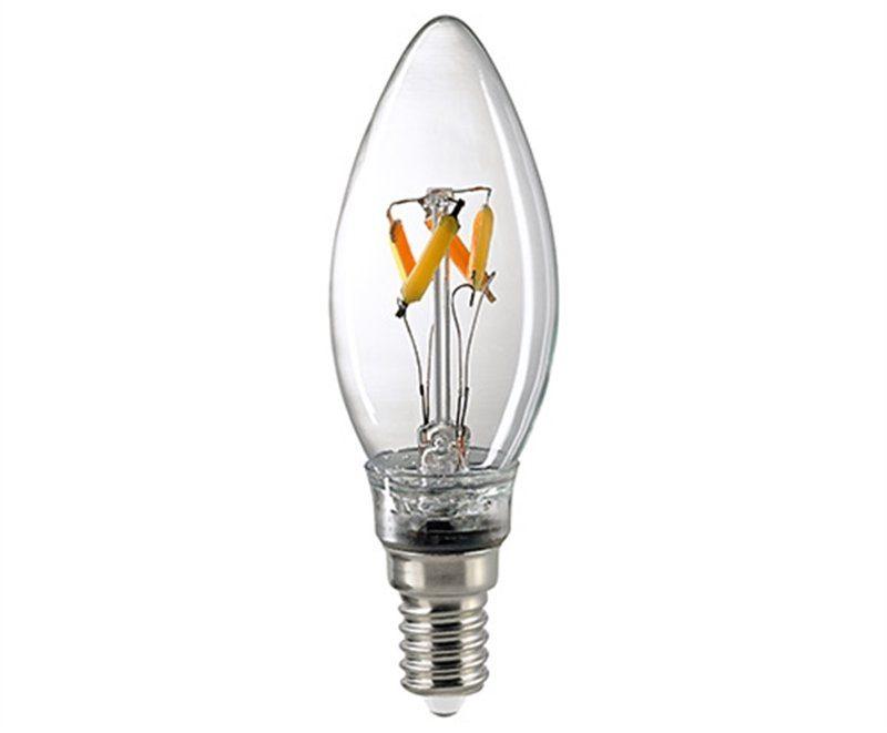Sigor 4,5 W LED-Filament Kerze Dim to Warm E14 2700–2100 K