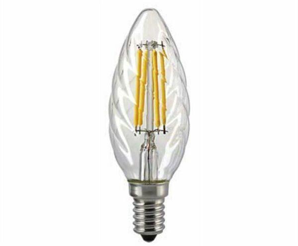 Sigor 4,5 W LED-Filament gedrehte Kerze Klar E14 2700 K Dim