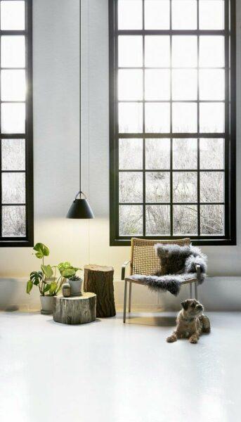 Nordlux Pendelleuchte Strap 36 Schwarz braunes Lederband Milieu