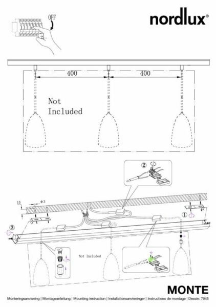 Nordlux Pendelschiene Monte 3 Montageanleitung