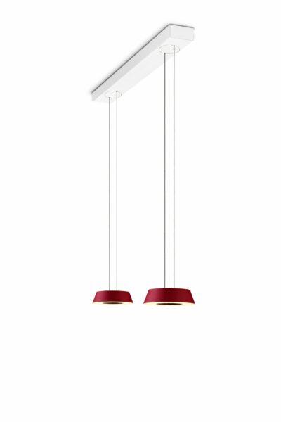 oligo-glance-pendelleuchte-2-flammig-mit-unsichtbarer-höhenverstellung-leuchtenschirm-rot-matt-baldachin-weiß-matt
