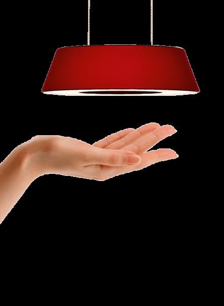 oligo-pendelleuchte-glance-rot-matt-beispielbild-gestensteuerung-leuchtenschirm