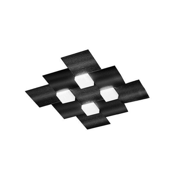 Grossmann Deckenleuchte Creo 4-flammig quadratisch Schwarz glänzend