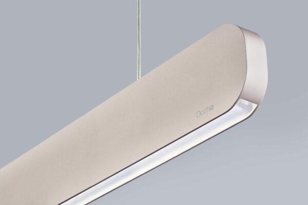 Occhio Pendelleuchte Mito linear volo variable up Silber matt Detail Leuchtenschirm