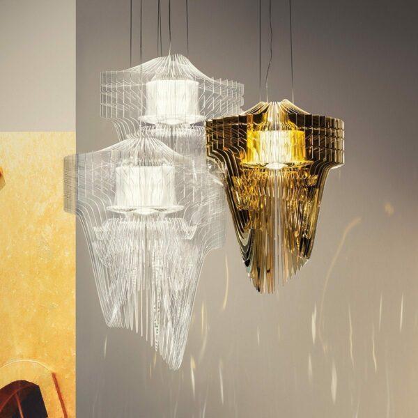 Slamp Pendelleuchte Aria Small Transparent und Gold Kombination Milieu