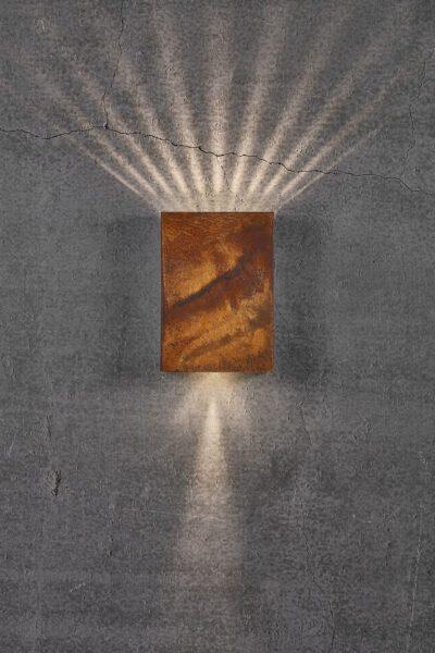 Nordlux Wandaußenleuchte Fold 15 Cortenstahl Lichtwirkung