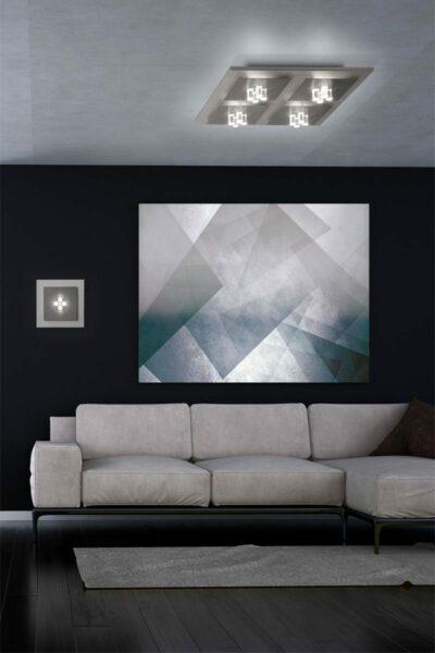 Grossmann Wand- und Deckenleuchte Four Aluminium-Hellgrau 1-flammig und 4-flammig Milieu