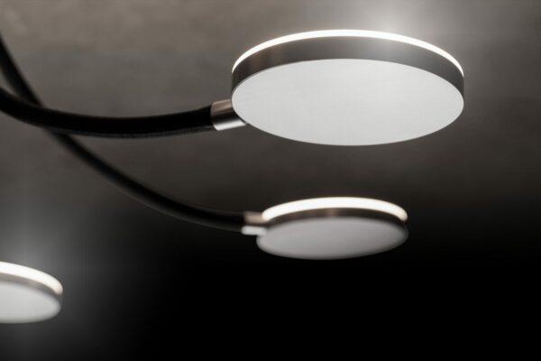Holtkötter Deckenleuchte Flex D3, Aluminium matt, Arme Schwarz, Detail
