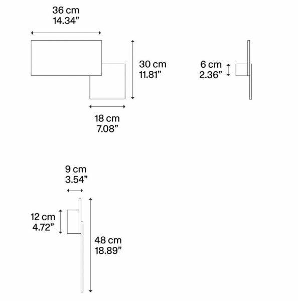 Lodes Puzzle Double Square & Rectangle Außenleuchte Maße