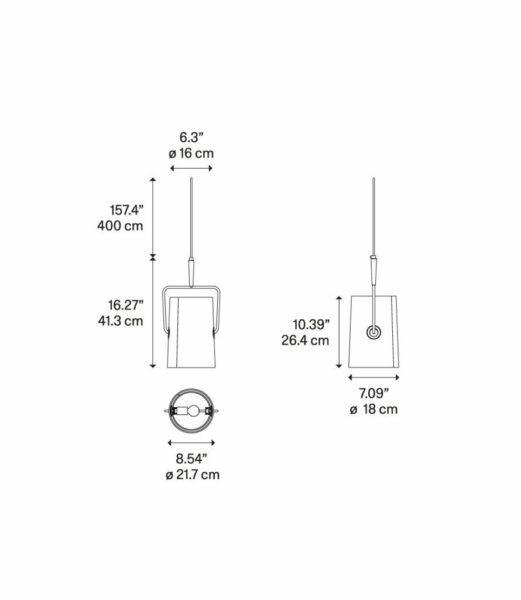 Diesel Pendelleuchte Fork Small Maße