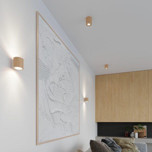 Sollux Lighting Wandleuchte Orbis Holz